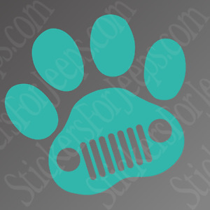 Jeep Dog Jeep Wave Paw Print Sticker For Car Truck Window Decal Over 40 Colors
