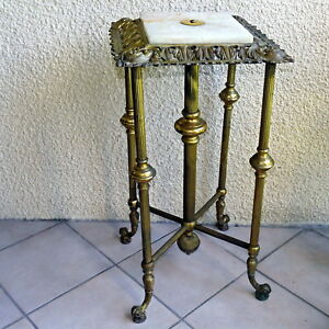 Antique Large Plant Oil Lamp Stand Table Ornate Brass Metal Onyx Insert
