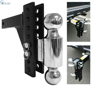 Heavy Duty Drop Adjustable Hitch Tow Truck Rv Trailer Dual Ball Pin Receiver New