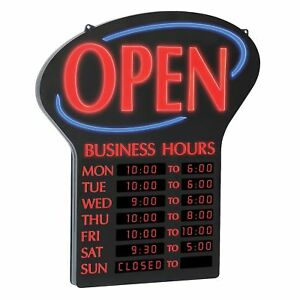 Newon Led Sign W programmable Business Hours Flashing Effects See Description