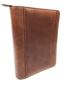Franklin Covey Classic Binder Organizer Planner Distressed Genuine Leather