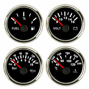 4 Gauge Set Fuel Level Water Temperature Volt Meter Oil Pressure Black Usa Stock