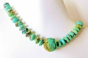 Museum Grade Vintage Antique Chinese Shou Carved Nat Turquoise Beads Necklace