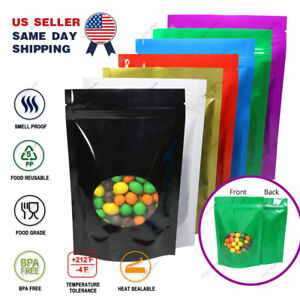 Multi color Size Glossy Mylar Stand Up Zip Lock Bag W Round Window M51