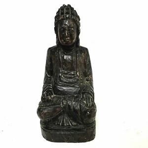 Vintage Antique 10 Wooden Carving Of Seated Kuan Yin Guanyin Buddha