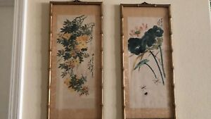 Antique Chinese Hand Painted On Silk Flowers Framed Artist Signed 22