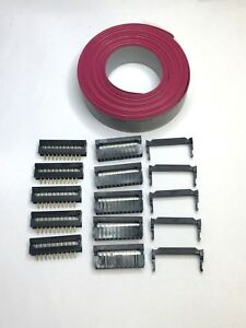 Flat Cable 20 Pin Wires Idc Ribbon 6 Ft 25mm 5 Sets Connectors Male To Cable