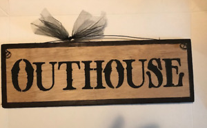 Outhouse Country Bathroom Stenciled Wood Powder Room Primitive Bath Decor Sign