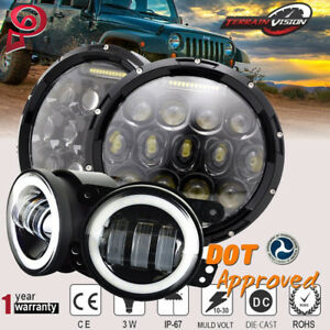 7 Round Led Driving Headlights 4 Led Fog Lamps Halo Ring Fit 07 17 Jeep Jk