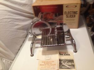 Vintage Rival Chrome Electric Slicer Model 1101e Original Box