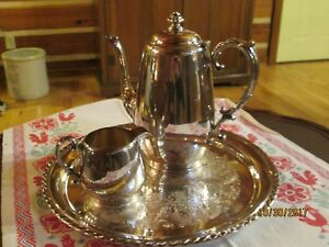 Wm Rogers Silver Plated Coffee Tea Set With Tray