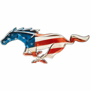 American Flag Shelby Mustang Embossed Metal Wall Decor Collectible Ford Signs