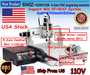 in Usa 4 Axis 6040 1500w Usb Mach3 Cnc Router Engraving Milling Machine 110v