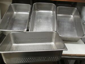 Stainless Steam Table Perforated Pan 20 X 12 1 2 X 6 Deep lot Of 7