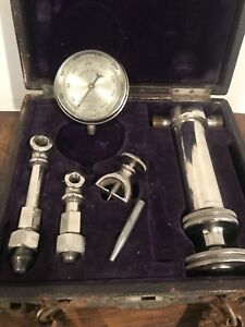 Vintage American Steam Gauge Test Set Nickeled Brass W Original Box