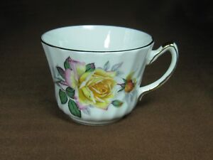 Delphine Bone China Yellow And Pink Rose Cup Only Gold Trim No Saucer