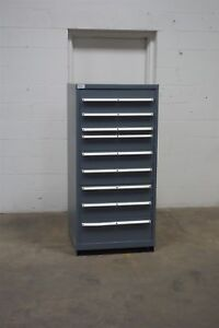 Used Gray Lista 9 Drawer Cabinet Industrial Tool Storage 1404 Vidmar