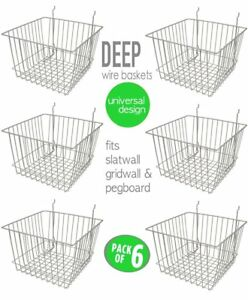Only Hangers Deep Wire Baskets For Gridwall Slatwall And Pegboard Chrome 6pk
