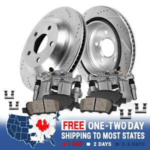 Rear Brake Calipers And Drilled Slotted Rotors Ceramic Pads Pair Set For