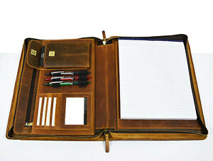 Leather Business Portfolio A4 Letter File Folder Organizer Office Planner
