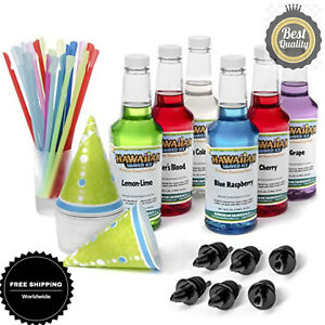 Hawaiian Shaved Ice 6 Flavor Fun Pack Includes 6 Snow Cone Syrup 16oz Safe Yummy