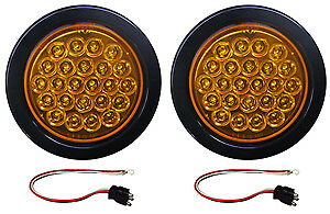 2 Amber Led Strobe Light 4 Round Grommets Pigtails