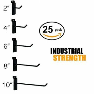 Black Slatwall Hooks Combo Pk Of 25 Assorted Sizes 5 Of Ea 2 4 6 8 10