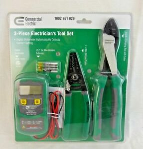 Commercial Electric 3 piece Electrician s Tool Set new sealed