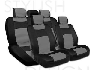For Toyota New Elegant Mesh And Synthetic Leather Car Seat Covers Set Grey