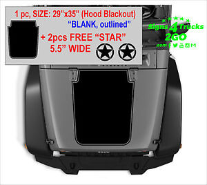 0020 Hood Blackout Blank Outlined 2 Free star Decals Graphic Jeep Wrangler