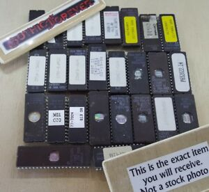 25 Pieces Mixed Used Eprom Dip Ic Chips St Amd Ceramic Vintage Uv Prom Lot A