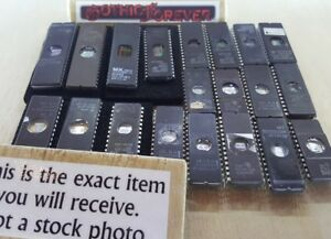 20 Pieces Mixed Used Eprom Dip Ic Chips St Amd Ceramic Vintage Uv Prom Lot C
