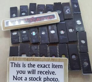25 Pieces Mixed Used Eprom Dip Ic Chips St Amd Ceramic Vintage Uv Prom Lot B