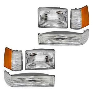 Headlights For 93 96 Jeep Grand Cherokee 6 Pc Park Signal Lamp Side Marker Kit