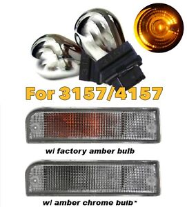 Stealth Chrome Bulb 3157 3057 4157 Amber Front Signal Light B1 For Ford