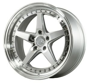 Aodhan Ds05 18x8 5 35 18x9 5 22 5x114 3 Silver Machined Staggered set Of 4