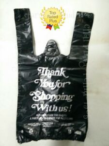 Hdpe Small 8 x 4 x 15 Black Thank You Plastic T shirt Bags 1 10 Shopping Bags