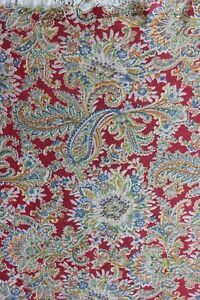 Vintage Printed Turkey Red Cotton Paisley Yardage C1920 1930 Quilts 1yd33 Lx35 W