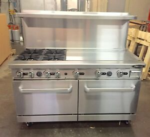 60 5 Foot Grill 4 Burner Gas Range 36 Griddle 2 Full Double Size Standard Oven
