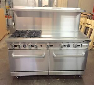 60 Range With Grill 4 Burner Gas 36 Griddle 2 Full Double Size Standard Oven