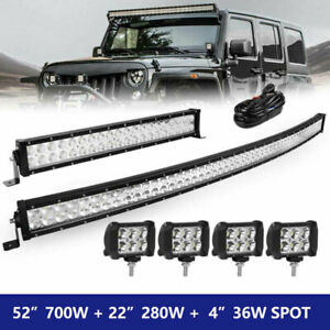 52inch Curved Led Light Bar 24 Inch 4inch Pods Offroad Suv 4wd Utv Vs 52 42 40