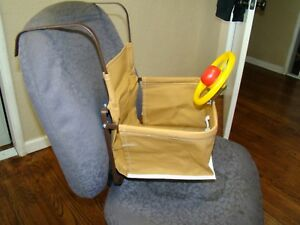 Vintage Style Brown Child Car Seat With Steering Wheel For Antique Auto Truck