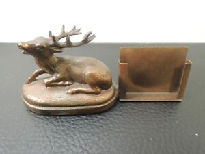 Vintage Austria Bronze Buck Deer Statue Desk Business Card Holder