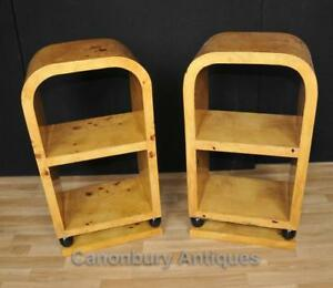 Pair Art Deco End Tables Bookcases Shelf Unit Nightstands