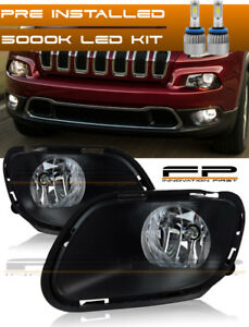 For 2014 2017 Jeep Cherokee Clear Fog Lights Full Complete Kit Wiring Led