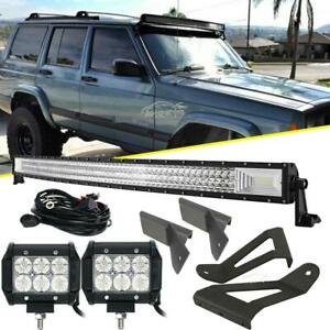 For Jeep Cherokee Xj 50 Curved Led Light Bar 4 18w mounting Bracket Tri Row