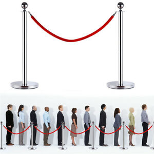 6pcs Ball Top Stainless Steel Crowd Control Stanchions Velvet Rope Barrier New