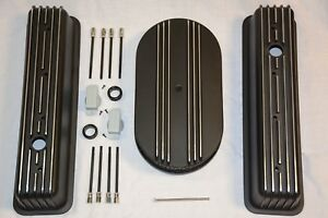 Black Small Block Chevy Tall Finned Center Bolt Valve Covers Air Cleaner 350