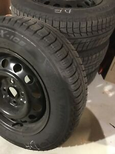 185 65r 14 Michelin X Ice Xi3 Xl Snow Tires Mounted Balanced Steel Rims Set