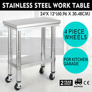 24 x12 Kitchen Stainless Steel Work Table Kitchen Utility 4 Caster Wheels